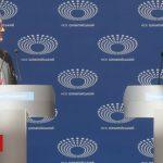 Ukrainian president debates empty podium